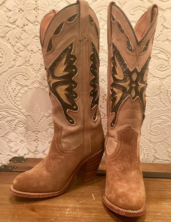 Tan Miss Capezio Cowgirl Boots size 5 1/2 M