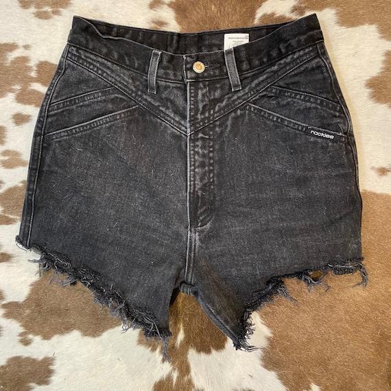 "Faded Black Denim Vintage Rocky Mountain High Waist Jean Cut Off Shorts 28"""