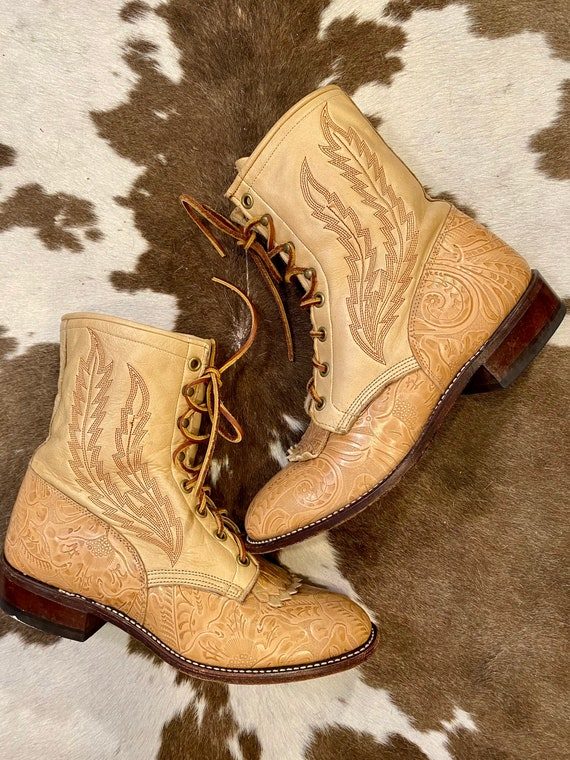 Lace Up Tan Tooled Leather Larry Mahan Granny Roper Packer Cowgirl Boots women's size 8M