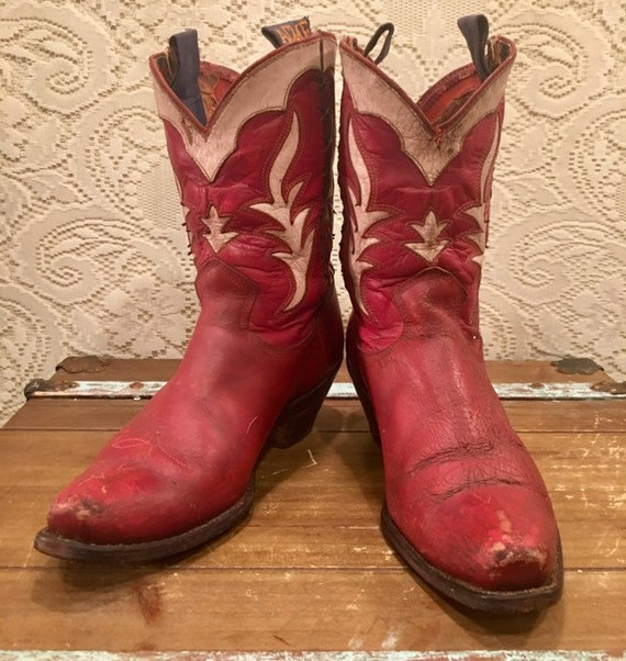 1950's Rare Red Acme PeeWee Shortie Cowgirl Boots size 8 1/2M