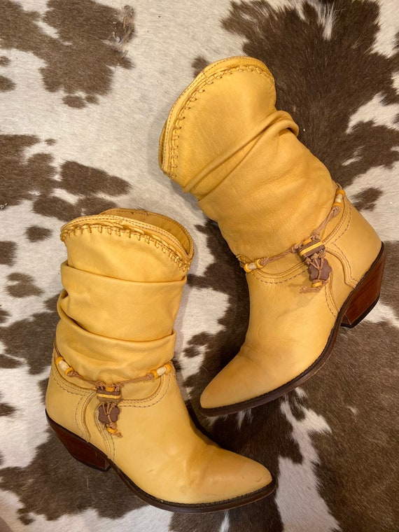 Butter Soft Leather Zodiac Slouch Cowgirl Western Boots size 6 1/2 M