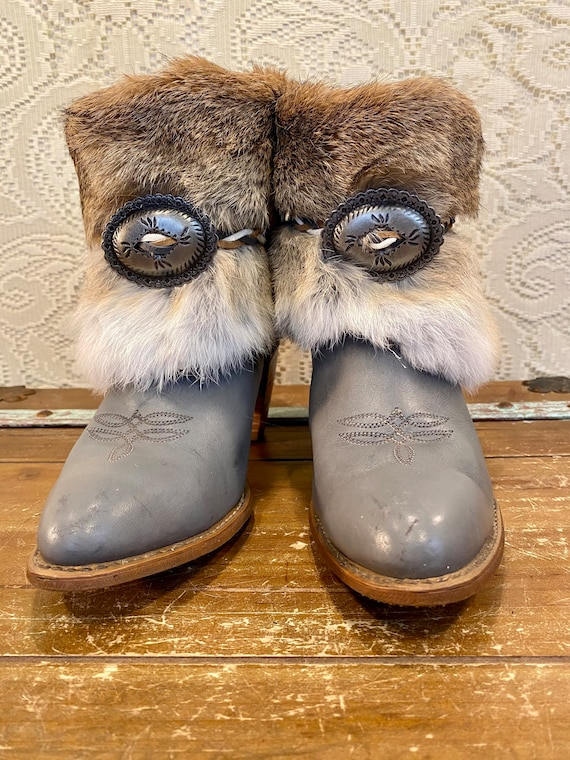 Hand Crafted Grey Leather and Fur Miss Capezio western cowgirl ankle booties size 9 M