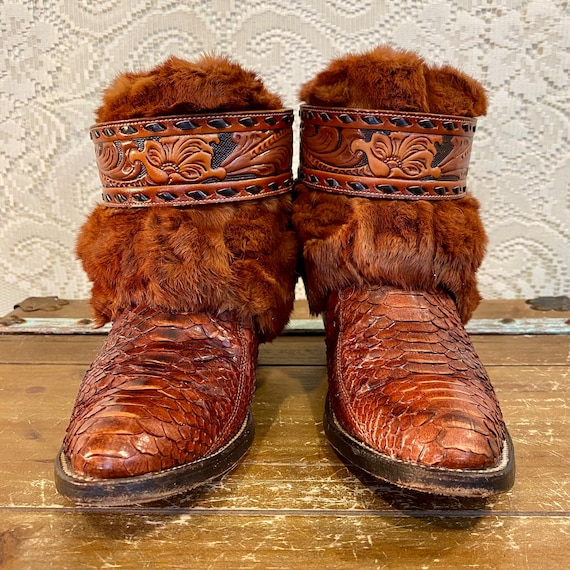 Handcrafted Vintage Nocona Whiskey Snakeskin Cowgirl Ankle Booties with Fur women's size 7 B