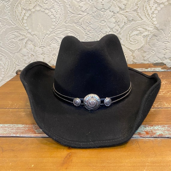 Black Fur Felt Rodeo Drive Stetson Cowgirl Hat with Silver Conchos size Medium
