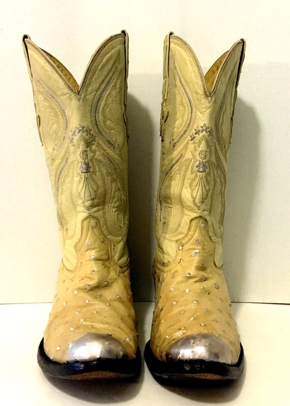 Hand Painted Beige and Silver Exotic Ostrich Boots by El General size 8 1/2 to 9