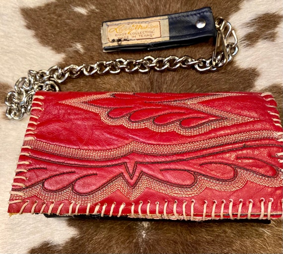 Handmade Leather Red and Navy Wallet/Phone  Holder made from Vintage Cowboy Boots