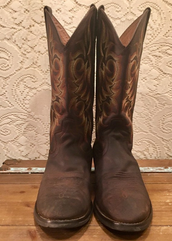 Brown Stiched Justin Cowboy Boots men's size 9D woman's size 11