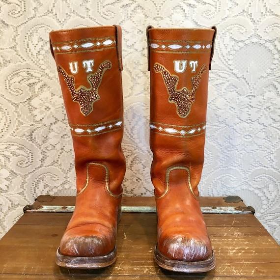 Burnt Orange University Of Texas Longhorn Tall Campus Boots SIze 7 1/2M