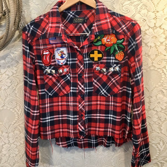 Amazing Vintage Distressed Cutoff Flannel with Vintage Patches and American Flag size XL Red/White/Blue