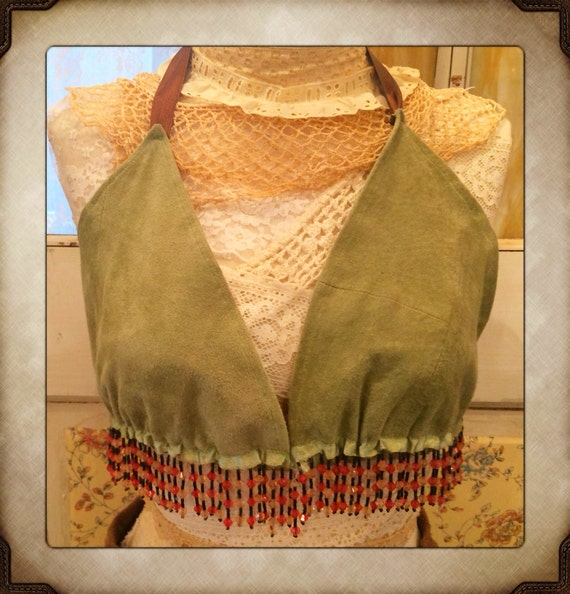 Hand made Vintage Suede Sage Green Beaded Bikini Top