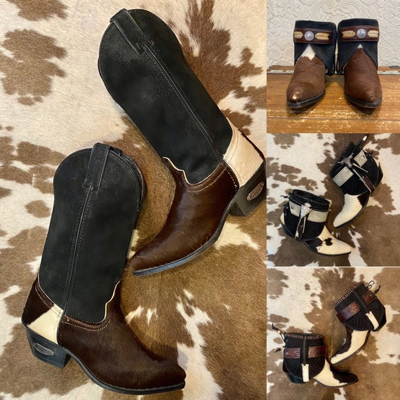 Vintage Code West Calf Hair Cowgirl Western Boots women's size 7 M