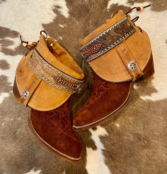 Handcrafted Brown and Tan Leather and Suede Miss Capezio cowgirl western ankle booties size 9 M