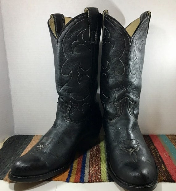 Black Leather Cowboy Boots with White Stitching men's size 9 1\2 women's size 11