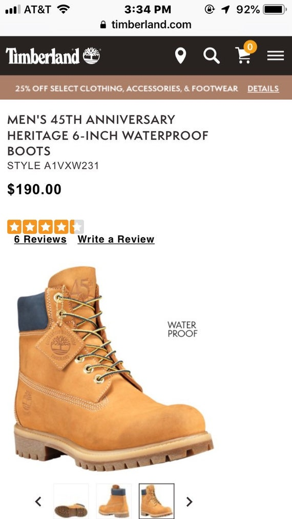 Men's Timberland Heritage 6 inch Waterproof Boots size 8.5M Wheat Nubuck Color New Old Stock