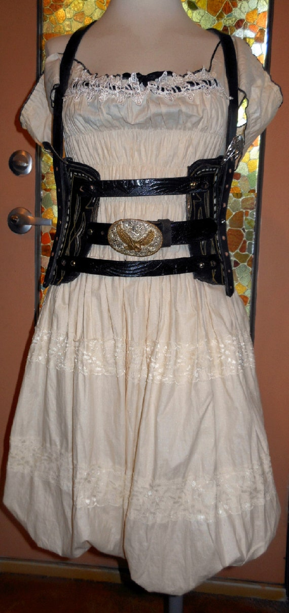 Handmade Vintage Cowboy Boot Corset With Western Belts And Etsy