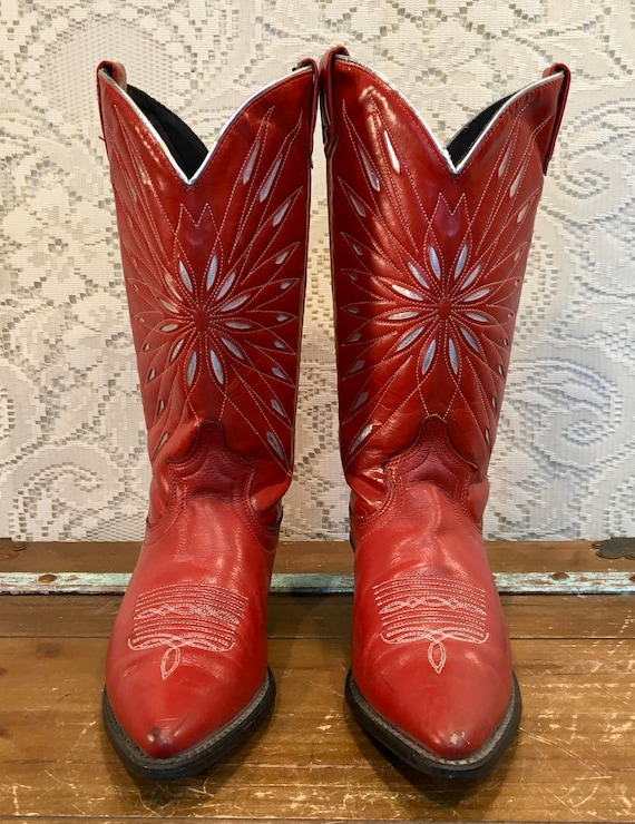 Red Hot Leather Vintage Acme Cowgirl Boots with Starburst inlays size 6 M
