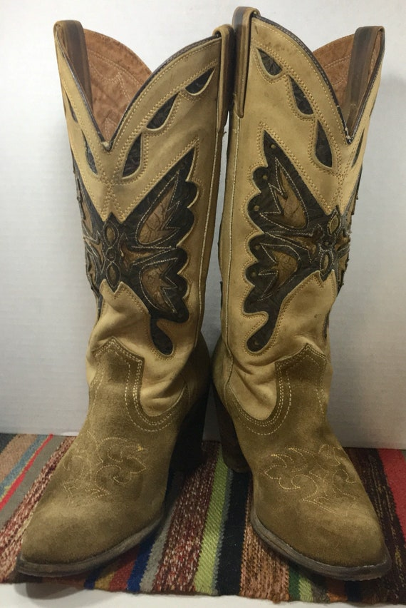 Miss Capezio Tan Cowgirl Boots with Butterfly Inlays size 8 1/2M