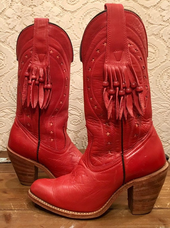 Red Hot Red Miss Capezio Cowgirl Boots with Fringe size 7