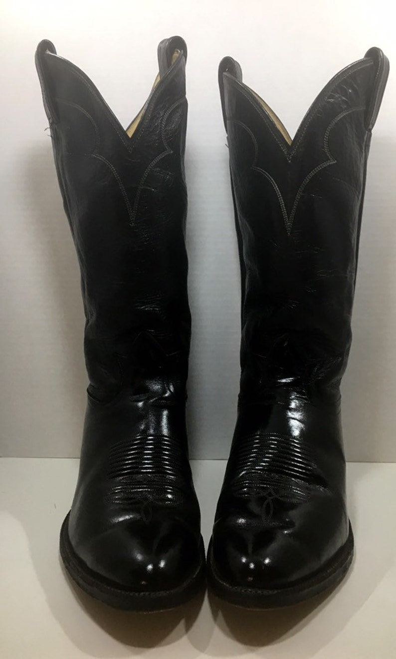 74cffbee976 Black Leather Tony Lama Cowboy Boots size 9 1/2 D or woman's 11