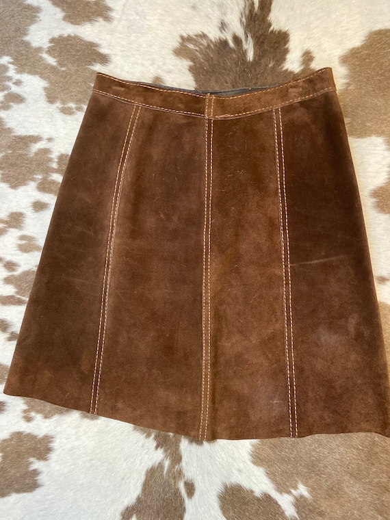 """1970's Reversible BrownSuede and Leather A-line Skater Skirt women's S-M Waist 27"""""""