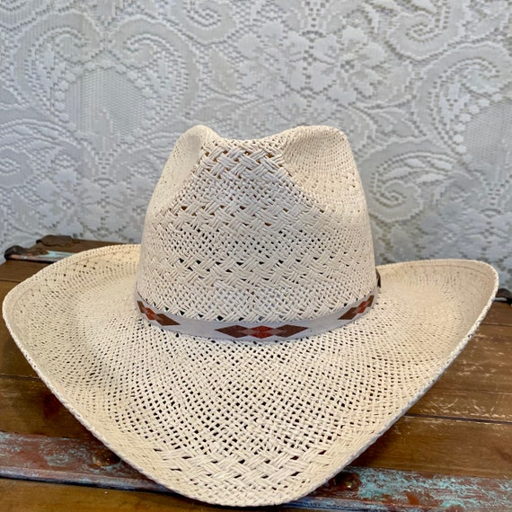 NOS Palm Straw Cowgirl Cowboy Hat by Larry Mahan Milano Hat Co size 7 1/4 or 58