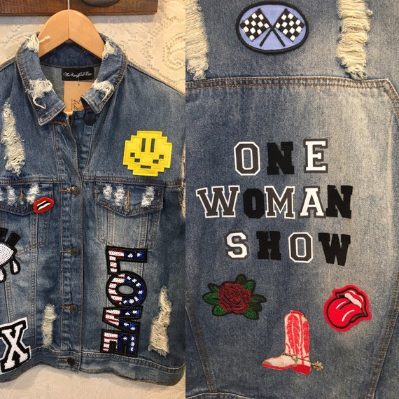 One woman show, Embellished Denim Vest with Patches size Medium/Large