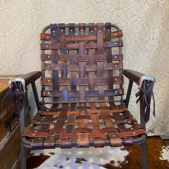 Vintage Boho Western Tooled Leather Folding Lawn Chair