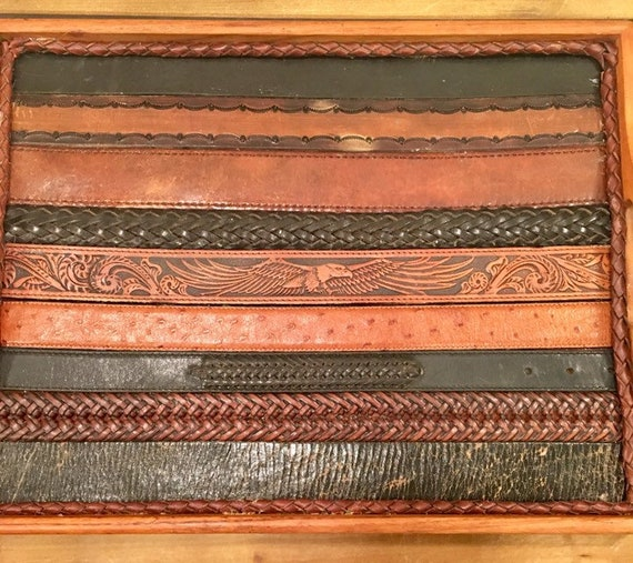 Handcrafted  Teak and Leather Vintage Western Belts Serving or Bar Tray