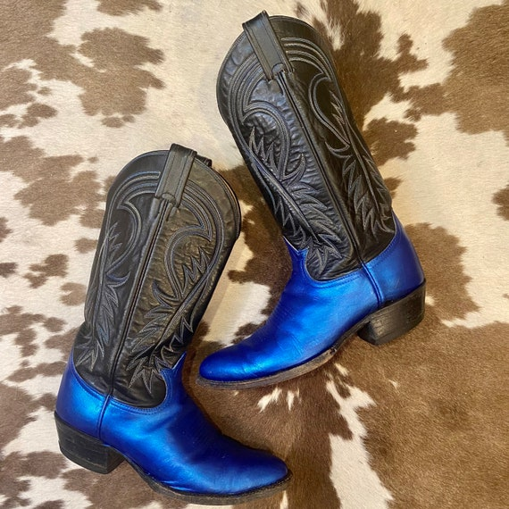 Hand-Painted Leather Metallic Blue and Black Tony Lama Black Label Cowboy Western Boots men's 8 D woman's 9 1/2 M