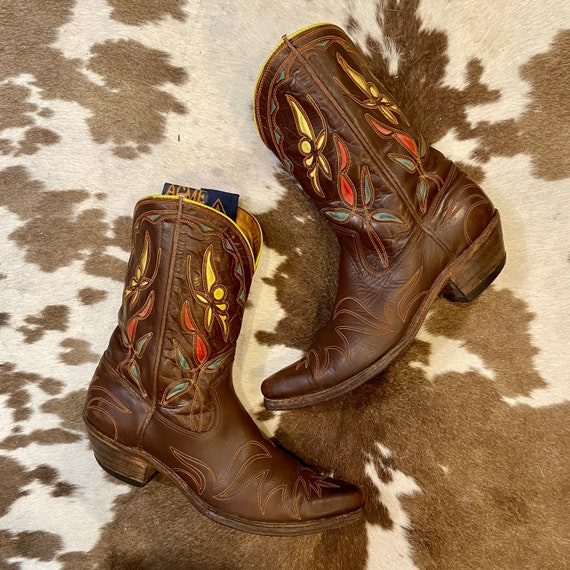 1950's Collectors Brown Leather Acme Cowgirl Boots with Butterfly Inlays women's size 9 1/2 B