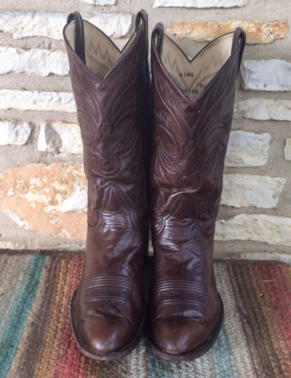 Vintage Brown Stitched Larry Mahan Cowboy Boots size 10