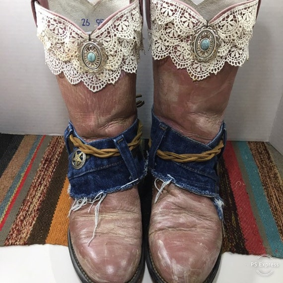 Dusty Rose Cowgirl Boots with lace and Denim women's size 8 M
