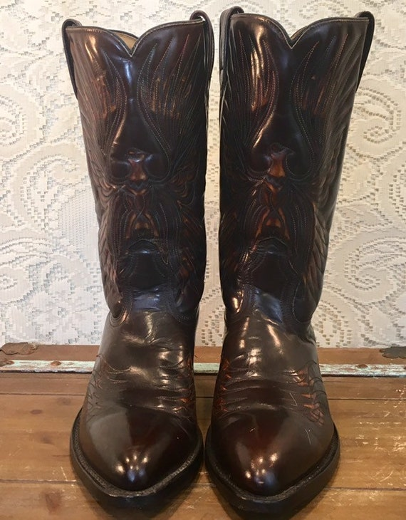 Vintage Acme Cowboy Boots with Phoenix Eagle Thunderbird men's size 9.5 D woman's size 11