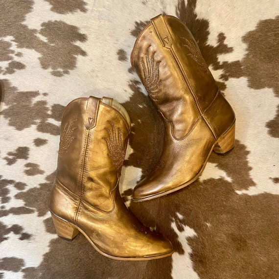 Hand Painted Vintage Oil Rubbed Metallic Gold Acme Cowgirl Western Boots with Glitter Inlays women's size 9 1/2 B