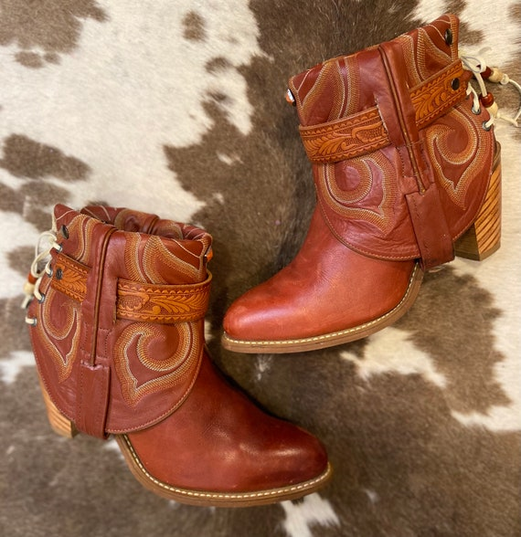 Whiskey Red Miss Capezio Cowgirl Western Handcrafted Ankle Booties size 7 1/2 M