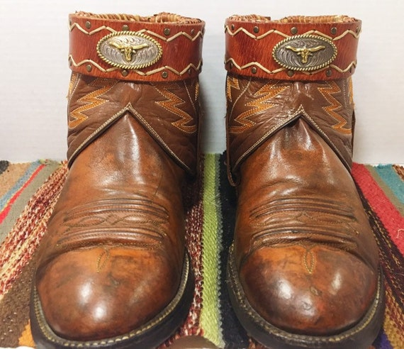 Custom made Burnt Orange and Brown Texas Longhorn Western Boots size 9D woman's soze 10 1/2 to 11