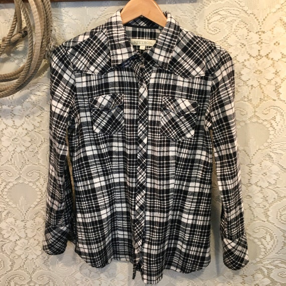 Black and White Vintage Stetson Flannel size M