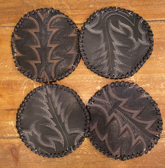 Black Leather Vintage Cowboy Boot Coasters hand stitching set of 4 with Blue Jean Holder