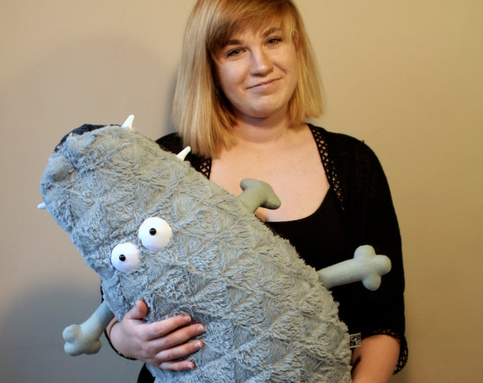 Big Olive Croc Pillow. Crocodile Cushion, Funny Huge Curly Aligator