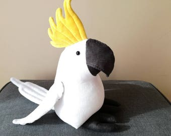 Sulphur Crested Cockatoo Plush Birdie, Cuddly Parrot Soft Toy