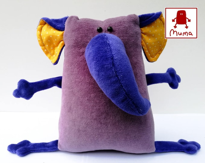 Muma Violet Elephant Plushie, Little Pocket Elephant Stuffie Toy, Funny Mammoth Pocket Plush