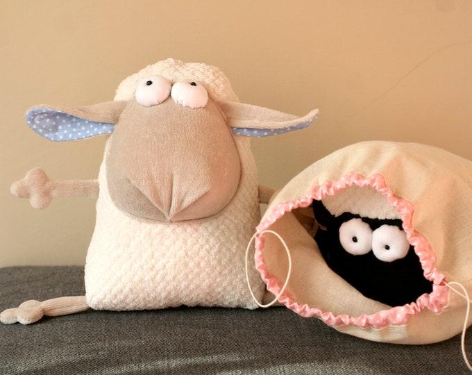 Plush Lamb Muma Waltzing Matilda, Cuddly Stuffed Plush Australian Sheep, Little Jumbuck Muma, Funny Soft Pop Eye Mutton, Woolly Plushie