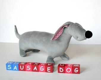 Reserved for Michelle - Plush Sausage Dog, Stuffed Dog, Plush Toy, Plush Dog, Soft Cuddly Toy
