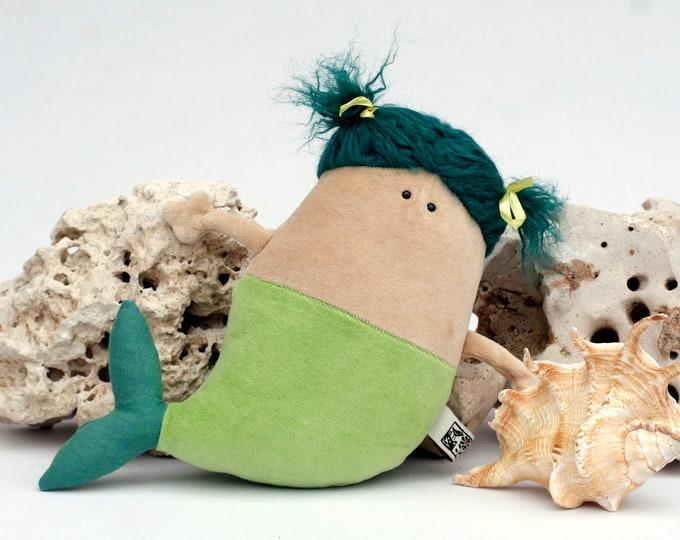 Mermaid Doll Plush, OOAK, RTS Cute Chubby Mermaid Soft Toy, Little Green Fish-bodied Female Merfolk