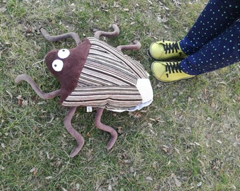 Big Brown Stink Bug Plushie Pillow, Huge Brown Plush Insect, Stuffed Stinkbug Toy,
