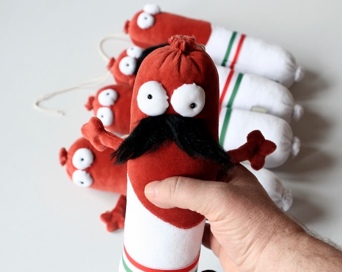 Rts Hungarian Salami (Mustache Face) Plush, Soft Funny Sausage Toy Ready to Ship, Traditional Hungarian Salami Plushie