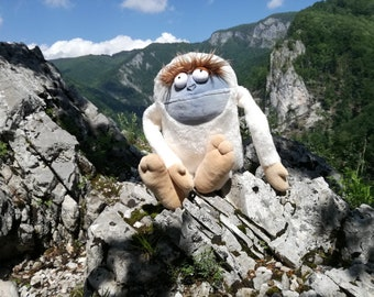 Yeti, Fabulous Bigfoot Plush Monster, Soft Funny Mountain Snowman, White Plush Sasquatch Toy, Adorable Nursery Decor