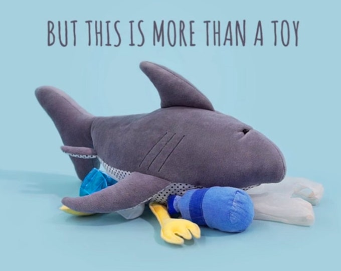 Plush Shark Pollutoy, Mark the Shark, Stuffed Sharkey, Educational Plush toy
