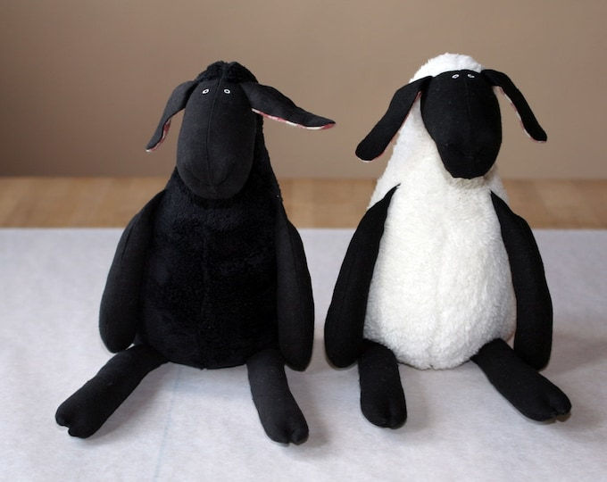 Stuffed Plush Sheep All Black or Black and White, Cuddly Soft Lamb, Plush Toy
