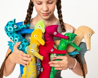 Little Seahorse Plush Toy, Colorful Stuffed Seahorse Plushie, Ocean Themed Nursery Decor, Colorful Fun For Kids, Ready-to-Ship Seahorse